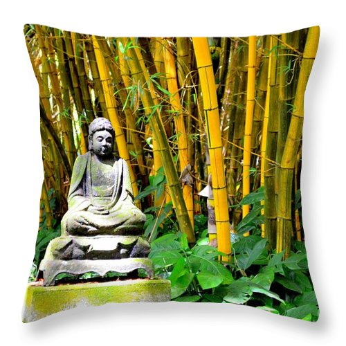 Buddha Throw Pillow featuring the photograph Buddha In The Bamboo Forest by Mary Deal