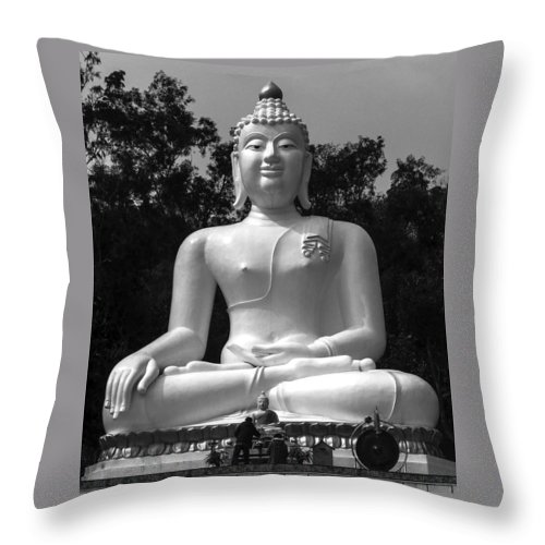 Black& White Throw Pillow featuring the photograph Buddha by Lovejoy Creations