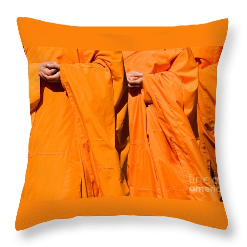 Buddhist Monk Throw Pillow featuring the photograph Buddhist Monks 02 by Rick Piper Photography
