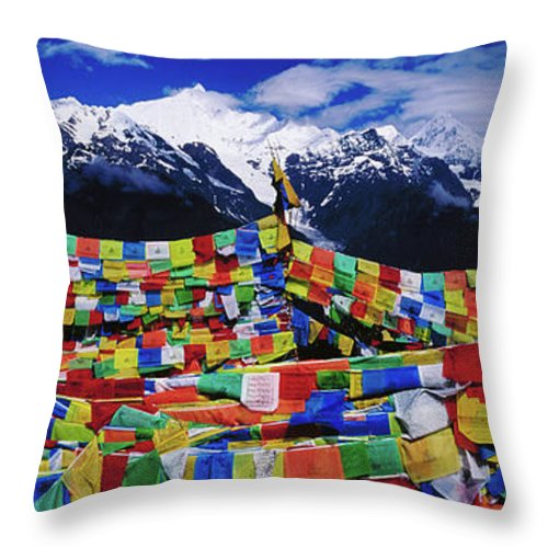 Chinese Culture Throw Pillow featuring the photograph Buddhist Prayer Flags With Meili by Richard I'anson