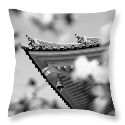 Roof Throw Pillow featuring the photograph Buddhist Temple In Black And White - Roof Tile Details by Beverly Claire Kaiya