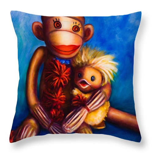 Sock Monkeys Brown Throw Pillow featuring the painting Buddies by Shannon Grissom