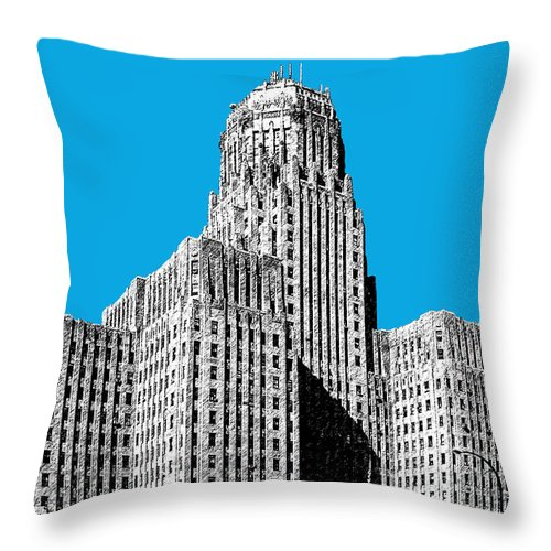 Architecture Throw Pillow featuring the digital art Buffalo New York Skyline 1 - Ice Blue by DB Artist