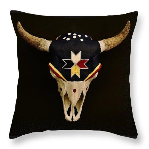 Buffalo Skull Throw Pillow featuring the photograph Buffalo Skull by Joy Bradley