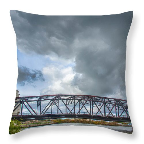 Bridges Throw Pillow featuring the photograph Buffalo's Ohio Street Bridge by Guy Whiteley