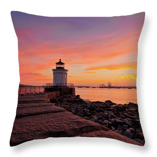 Built Structure Throw Pillow featuring the photograph Bug Light Sunrise 1899 by Www.cfwphotography.com