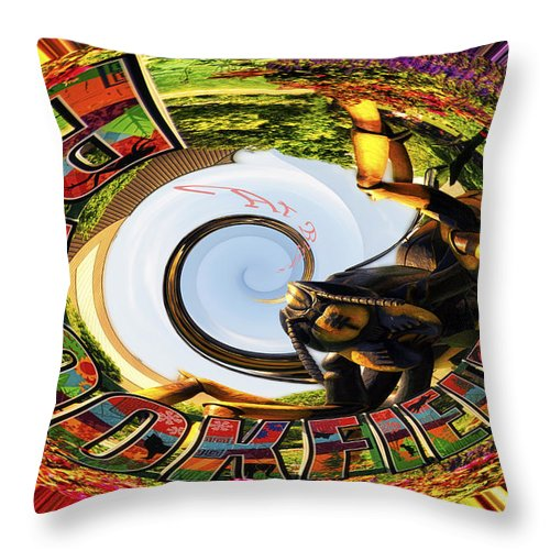 Brookfield Zoo Throw Pillow featuring the photograph Bugs At Brookfield Zoo Polar Signage by Thomas Woolworth