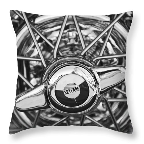 Black And White Throw Pillow featuring the photograph Buick Skylark Wheel Black And White by Jill Reger