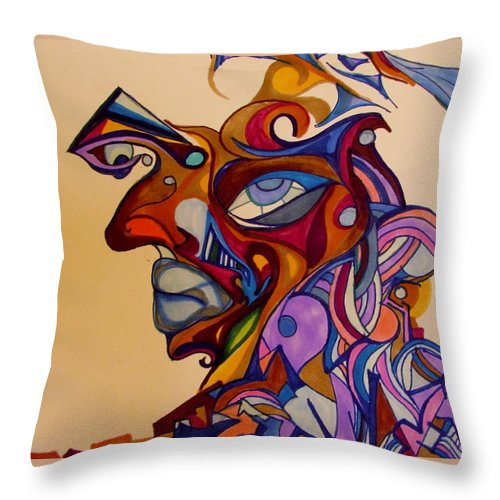 Face Throw Pillow featuring the painting Building A Face by Shelby Robbins