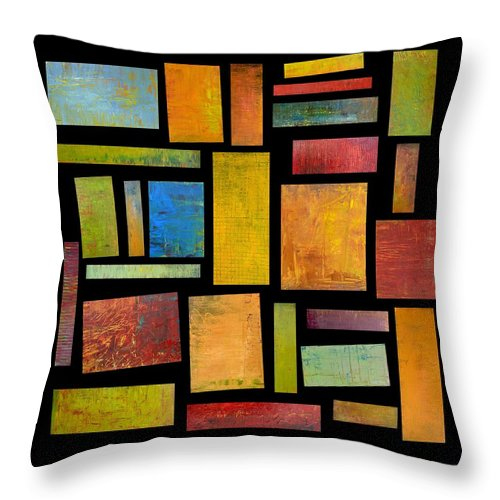 Textural Throw Pillow featuring the painting Building Blocks Four by Michelle Calkins