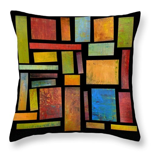 Textural Throw Pillow featuring the painting Building Blocks Three by Michelle Calkins