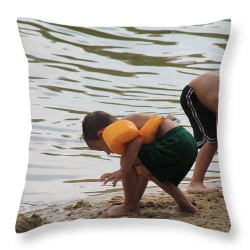 Cute Kids Throw Pillow featuring the photograph Building Castles At The Beach by Robin Vargo