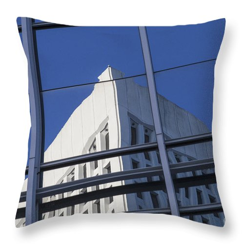 Window Throw Pillow featuring the photograph Building Reflection by Diane Macdonald
