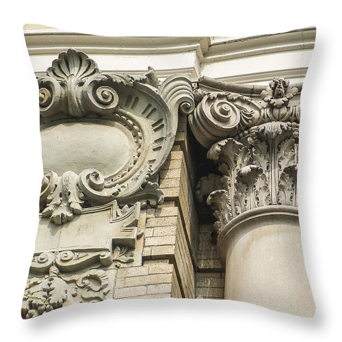 Architectural Throw Pillow featuring the photograph Building Trim by Eric Swan