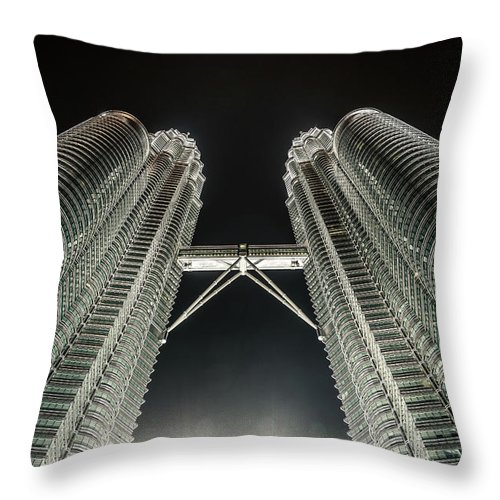 Viewpoint Throw Pillow featuring the photograph Buildings Bridge by Twilightshow