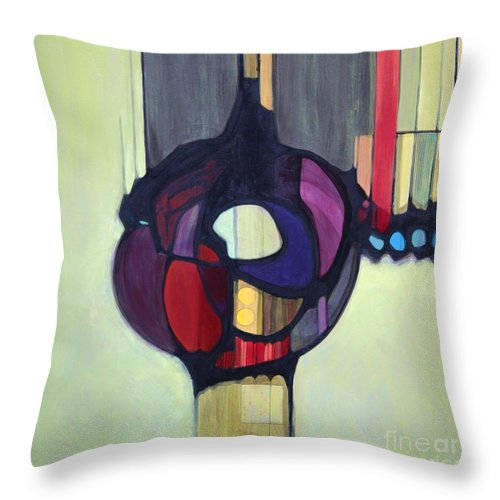 Bold Color Throw Pillow featuring the painting Bulbosity by Marlene Burns