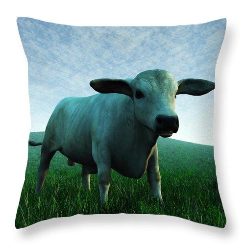 Brahman Throw Pillow featuring the digital art Bull... by Tim Fillingim