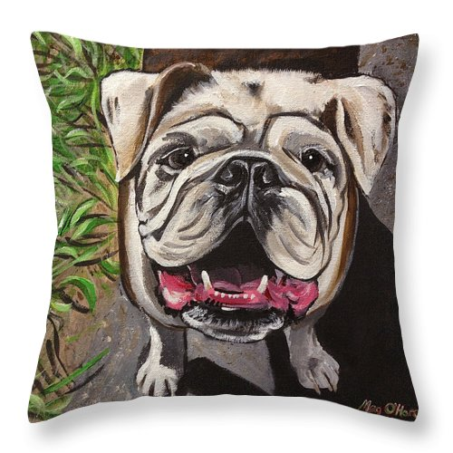Bulldog Throw Pillow featuring the painting Bulldog by Meghan OHare