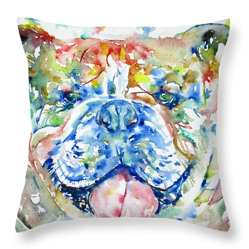 Bulldog Throw Pillow featuring the painting Bulldog - Watercolor Portrait by Fabrizio Cassetta