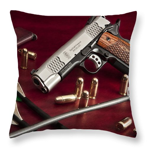 1911 Throw Pillow featuring the photograph Bullets And Broadheads by Tom Mc Nemar