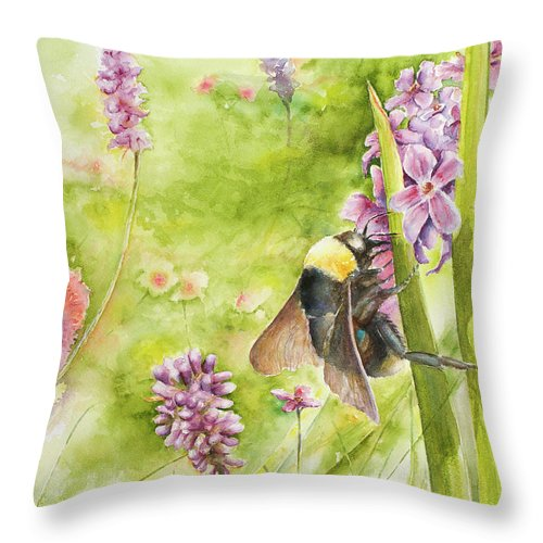 Landscape Throw Pillow featuring the painting Bumble by Arthur Fix