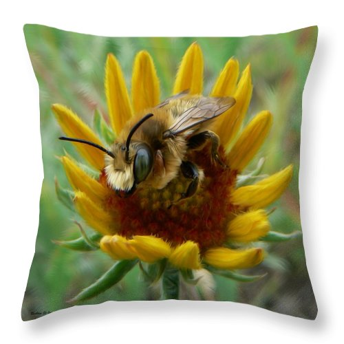 Bumble Bee Beauty Throw Pillow featuring the photograph Bumble Bee Beauty by Barbara St Jean