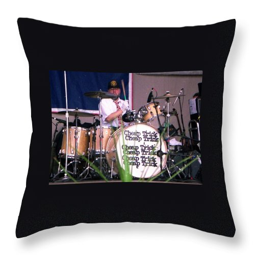 Cheap Trick Throw Pillow featuring the photograph Bun E Carlos by Sheryl Chapman Photography