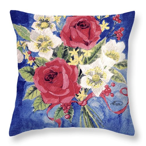 Bunch Of Flowers Throw Pillow featuring the painting Bunch Of Flowers by Alban Dizdari
