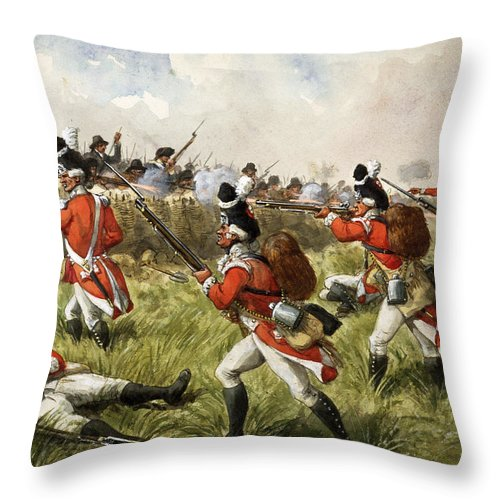 Shooting Throw Pillow featuring the painting Bunkers Hill, 1775 by Richard Simkin