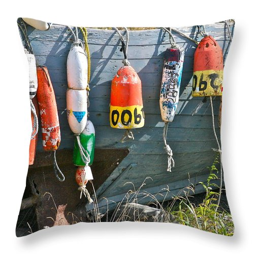 Buoy Throw Pillow featuring the photograph Buoy Hang Out by Rick Monyahan