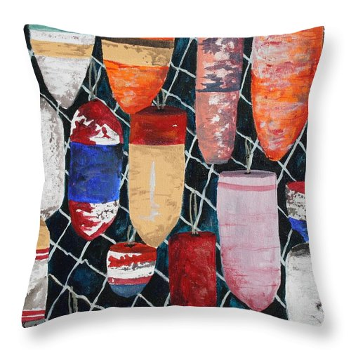 Buoy Throw Pillow featuring the painting Buoy Nautical Vintage Art by Derek Mccrea