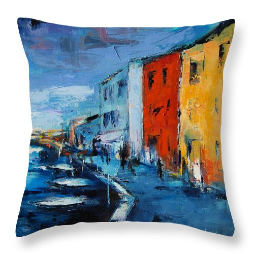 Italy Throw Pillow featuring the painting Burano Canal - Venice by Elise Palmigiani