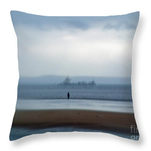 Blurred Throw Pillow featuring the photograph Burbo Bank Rain Figure Ship 2 by Simon Kennedy