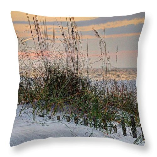Alabama Throw Pillow featuring the digital art Buried Fence And Sea Oats Sunrise by Michael Thomas