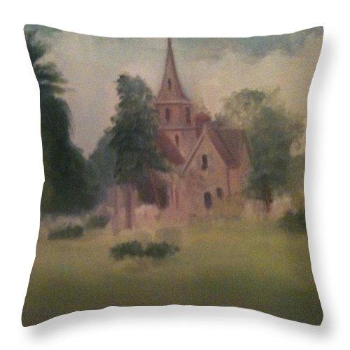 Church Throw Pillow featuring the painting Burlington NJ Church by Sheila Mashaw