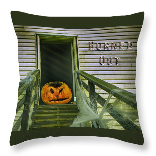 Halloween Throw Pillow featuring the photograph Burned Out - Halloween by Nikolyn McDonald