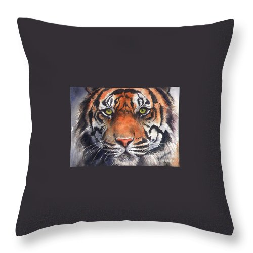Tiger Throw Pillow featuring the painting Burning Bright by Patricia Henderson