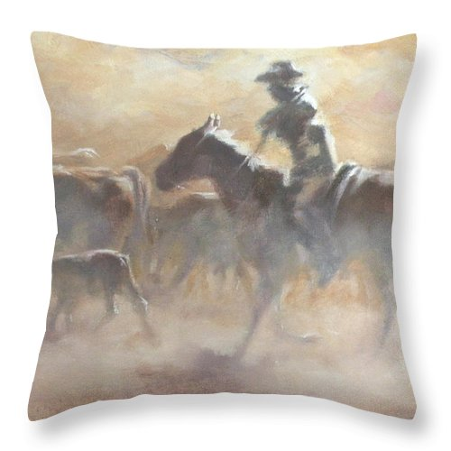 Cowboys Throw Pillow featuring the painting Burning Daylight by Mia DeLode
