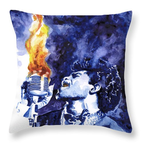 James Brown Throw Pillow featuring the painting Burning Soul Brown by Ken Meyer jr