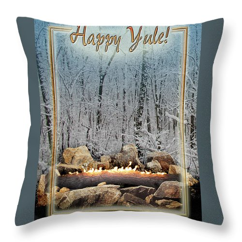 Yule Throw Pillow featuring the digital art Burning Yule Log by Melissa A Benson