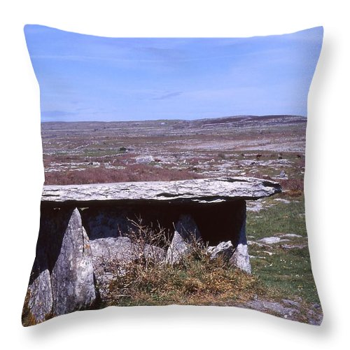 Wedge Tomb Throw Pillow featuring the photograph Burren Wedge Tomb by Cynthia Wallentine
