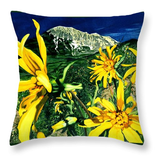 Flowers Throw Pillow featuring the painting Burst Of Summer by Barbara Jewell