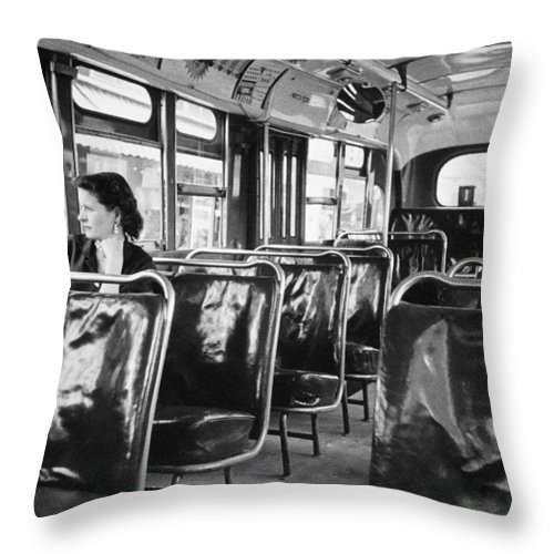1950s Throw Pillow featuring the photograph Bus Boycott, C1955 by Granger