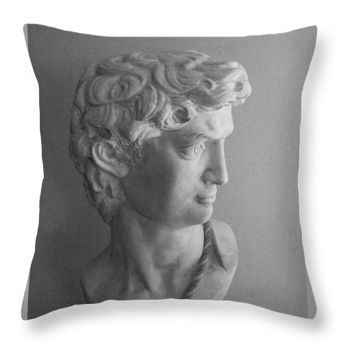 Sculpture Throw Pillow featuring the photograph Bust Of Michaelangelo's David by Siera Anthony
