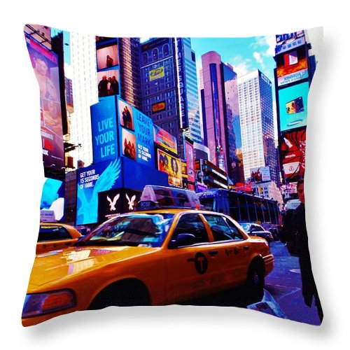 Times Square Throw Pillow featuring the photograph Busy City by Greg Kear
