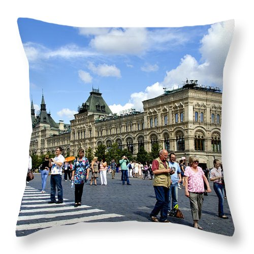 Red Square Throw Pillow featuring the digital art Busy Square by Pravine Chester