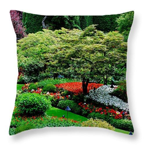 Butchart Gardens Throw Pillow featuring the photograph Butchart Gardens by Lisa Phillips