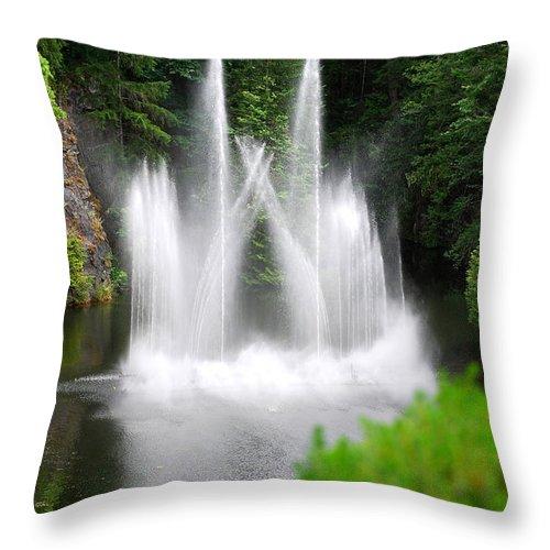 Butchart Gardens Waterfalls Throw Pillow featuring the photograph Butchart Gardens Waterfalls by Lisa Phillips