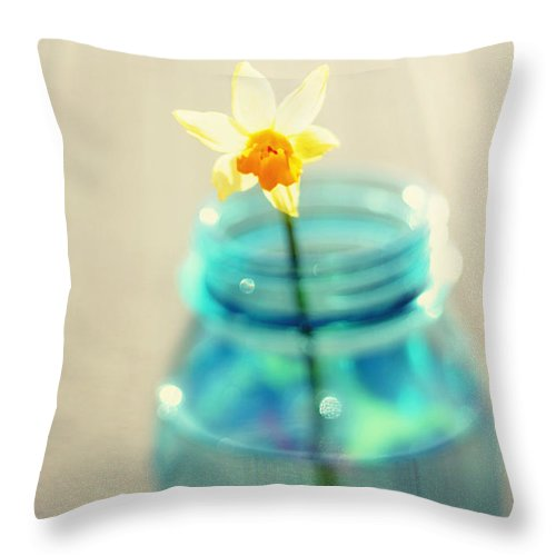 Buttercup Throw Pillow featuring the photograph Buttercup Photography - Flower In A Mason Jar - Daffodil Photography - Aqua Blue Yellow Wall Art by Amy Tyler