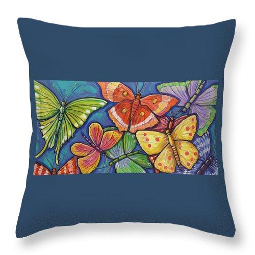 Butterflies Throw Pillow featuring the painting Butterflies by Ilene Richard